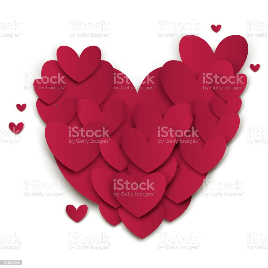 paper hearts valentines day vector love art card origami style