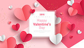 istock Paper hearts with frame 1081903502