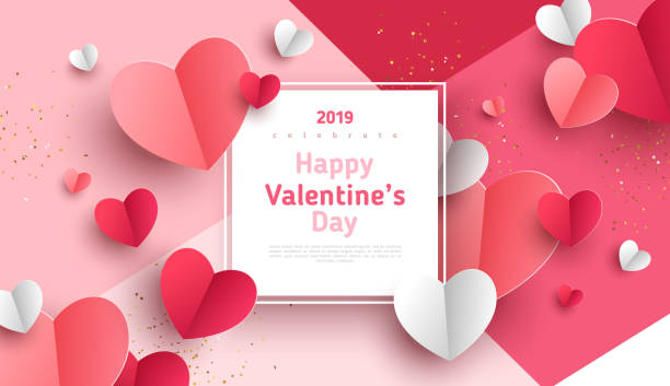 Paper hearts with frame Valentine's day concept background. Vector illustration. 3d red and pink paper hearts with white square frame. Cute love sale banner or greeting card amor stock illustrations