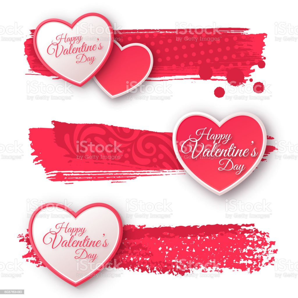 Paper Hearts with Watercolor Strokes vector art illustration