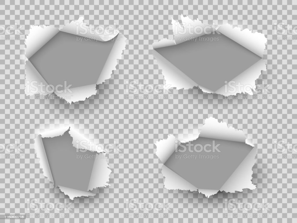 Paper hole. Ripped edge torn holes, cardboard rip burst. Damaged...