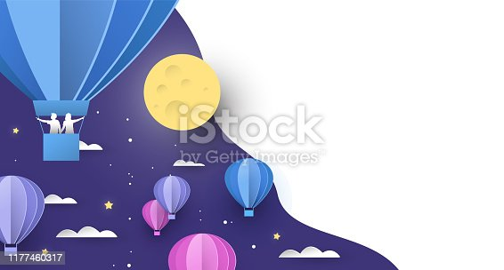 Papercut hot air balloon background on night sky with clouds, people and stars. White copy space backdrop for dream imagination, sleep or exploration concept.