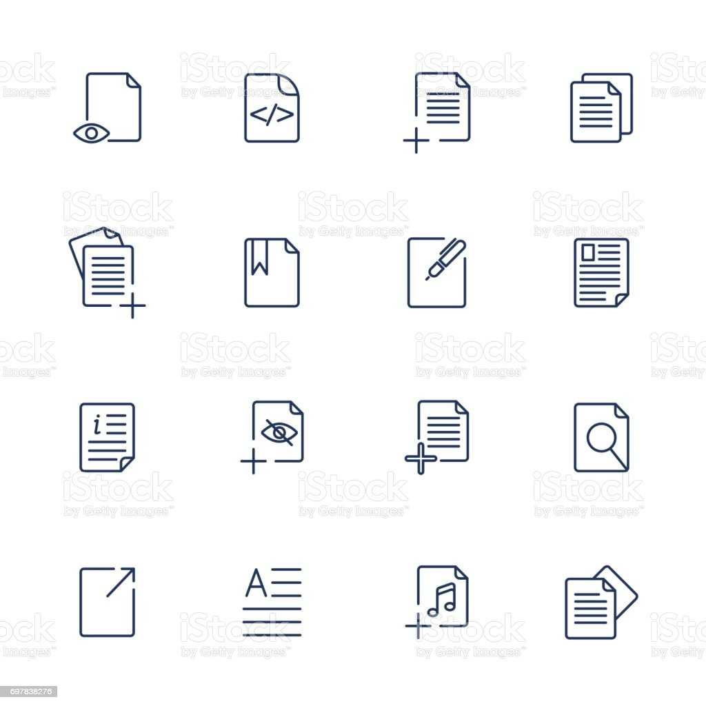 Paper icon, Document icon, Vector EPS10 vector art illustration