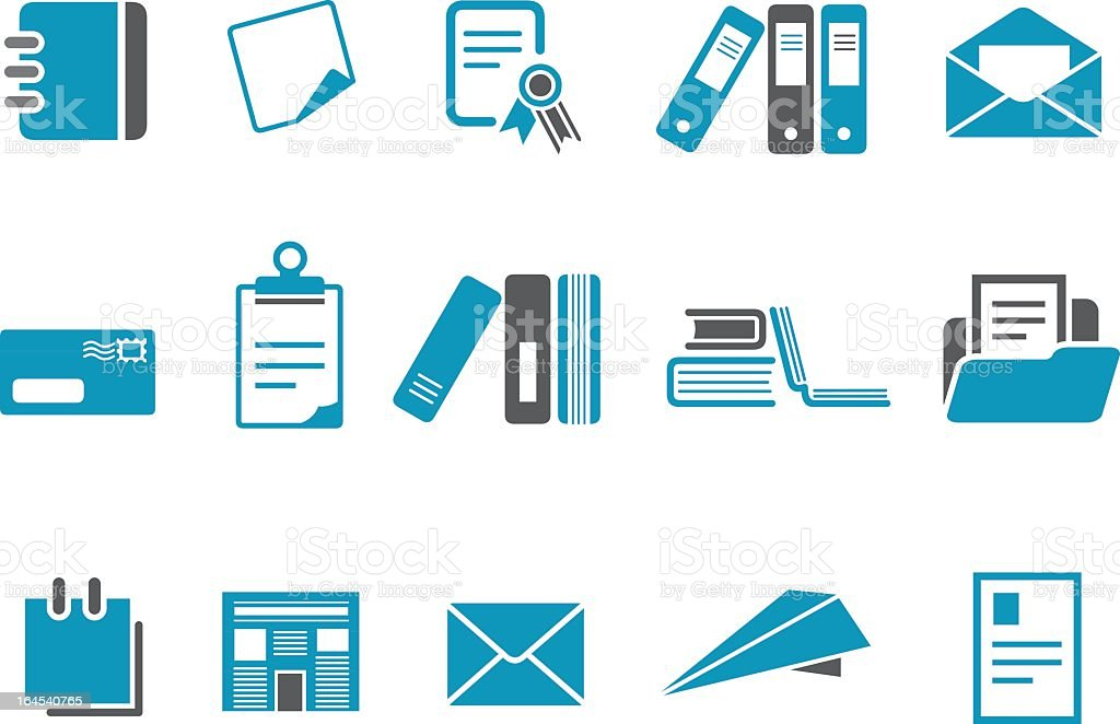 Paper icon set in blue and white royalty-free stock vector art