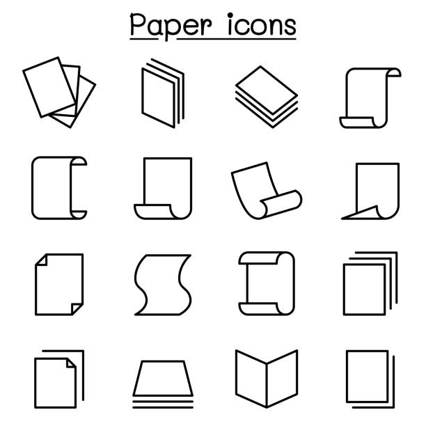 papier-symbol legen sie in dünne linienstil - gestapelt stock-grafiken, -clipart, -cartoons und -symbole