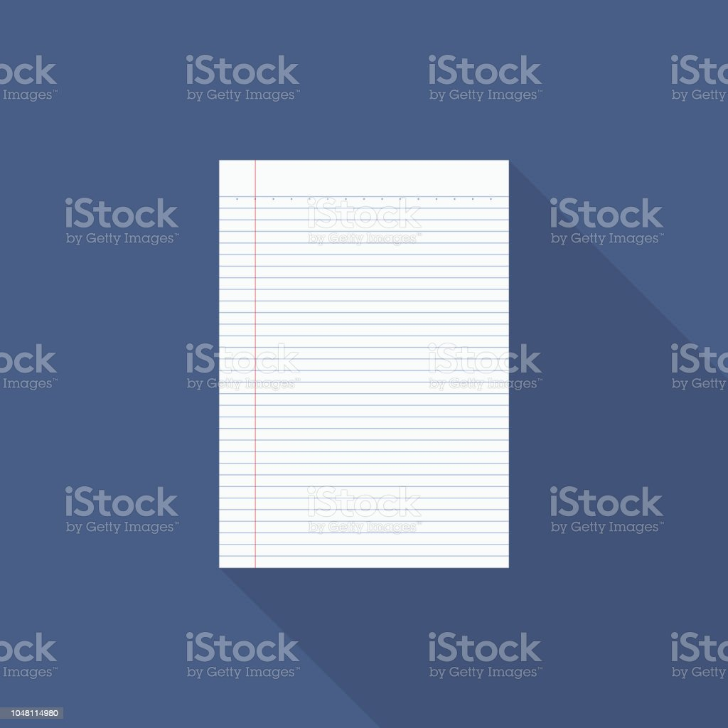 paper icon with long shadow on blue background flat design style