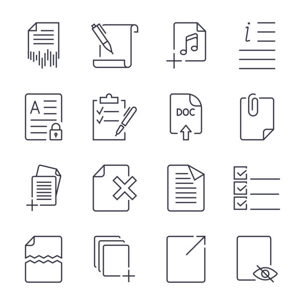 Paper icons. Document icons. Vector EPS10. Icon set with editable stroke vector art illustration