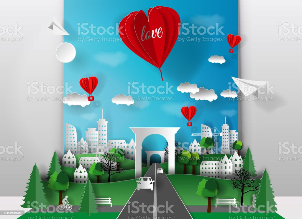 3D paper illustration of paper cut city with trees, houses, skyscrapers, cars and bridge, balloon heart inscription love. The style of paper art. vector art illustration