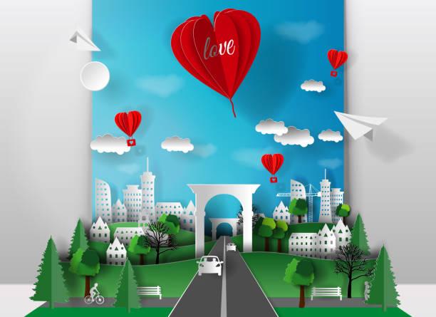 bildbanksillustrationer, clip art samt tecknat material och ikoner med 3d papper illustration av papper skär staden med träd, hus, skyskrapor, bilar och bridge, ballong hjärtat inskription kärlek. format papperskonst. - recycling heart