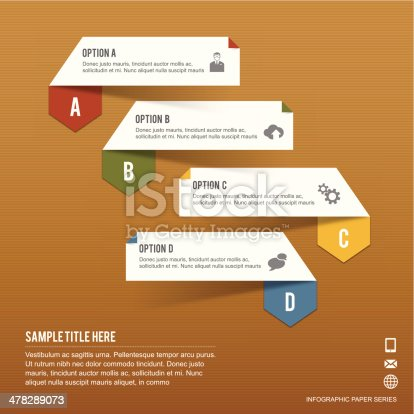istock Paper Infographic tabs of four options on brown paper background 478289073