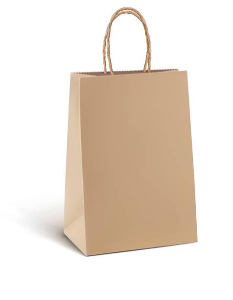 Paper kraft shopping bag isolated on white. Vector 3d illustration Paper kraft shopping bag isolated on white. Vector 3d illustration handle stock illustrations