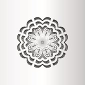 Paper lace greeting card, black white pattern, floral decorations, template congratulation, 3D, vector eps10