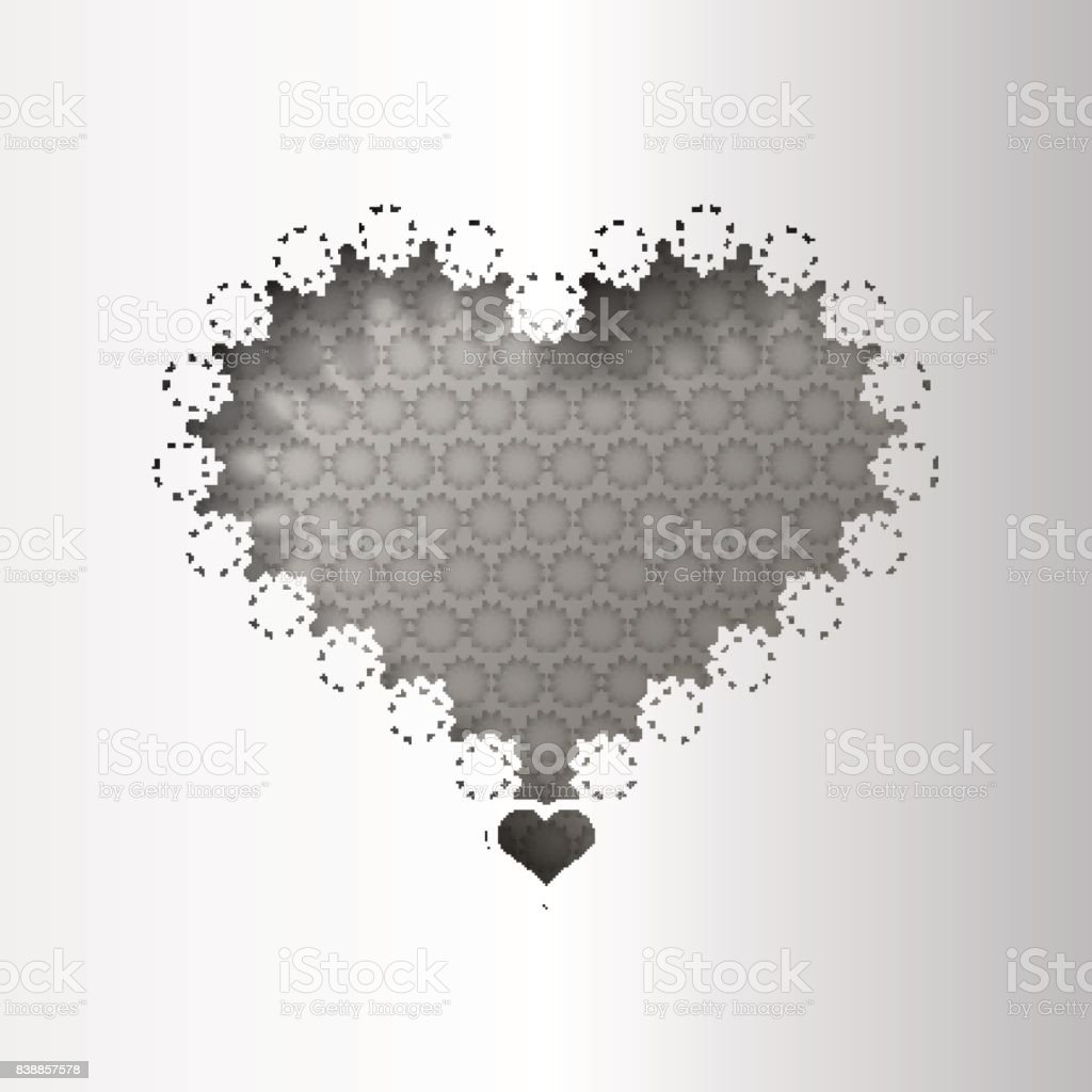 Paper Lace Greeting Card Black White Pattern For Lovers Template ...