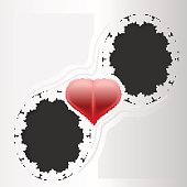 Paper lace greeting card, wedding card, for lovers, template congratulation heart, 3D, vector eps10