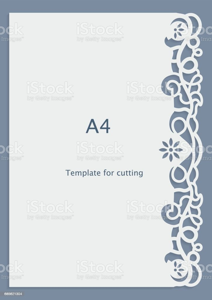 A4 Paper Lace Greeting Card Wedding Invitation Cutout Template