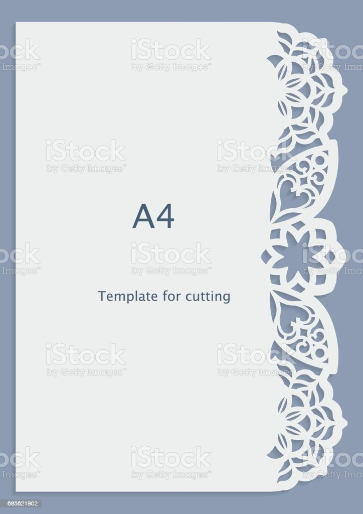 A4 Paper Lace Greeting Card Wedding Invitation White Pattern Cutout ...