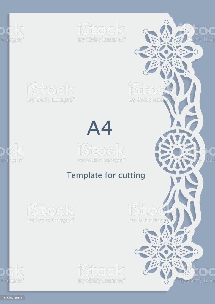A4 Paper Lace Greeting Card Wedding Invitation White Pattern Cutout