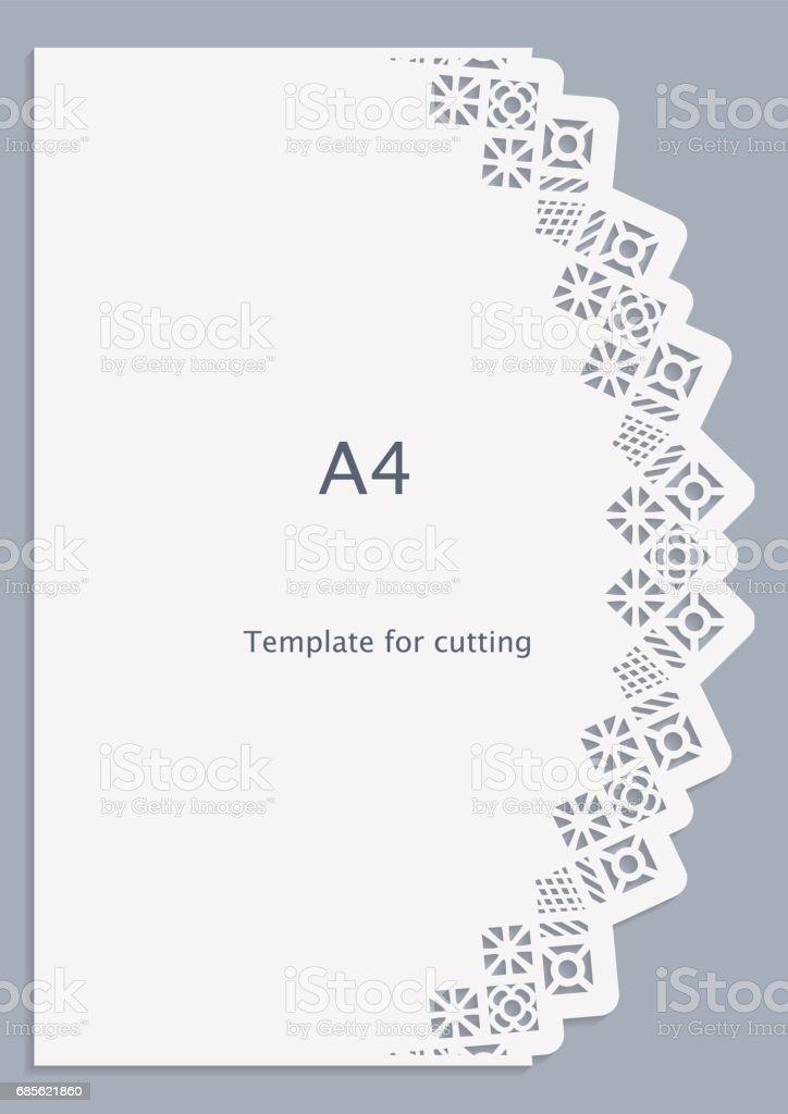 A4 Papier Spitze Grußkarte, weiße Muster, Cut-Out Vorlage, Vorlage Gratulation, Perforationsmuster, Vektor Lizenzfreies a4 papier spitze grußkarte weiße muster cutout vorlage vorlage gratulation perforationsmuster vektor stock vektor art und mehr bilder von abstrakt