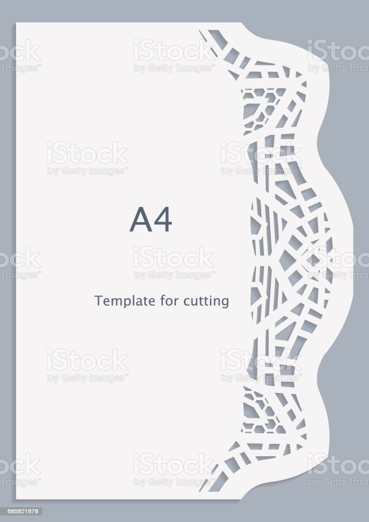 A4 paper lace greeting card, white pattern, cut-out template,  template congratulation, perforation pattern,  vector a4 paper lace greeting card white pattern cutout template template congratulation perforation pattern vector - arte vetorial de stock e mais imagens de abstrato royalty-free