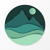 Paper landscape with hills, mountains, moon. Ecology, world environment concept. Paper art modern style