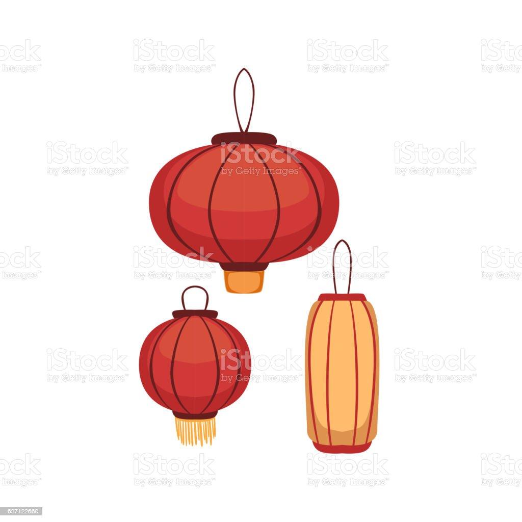 Paper Lanterns Japanese Culture Symbol vector art illustration