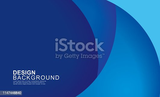 istock Paper layer circle blue abstract background. Curves and lines use for banner, cover, poster, wallpaper, design with space for text. 1147446840