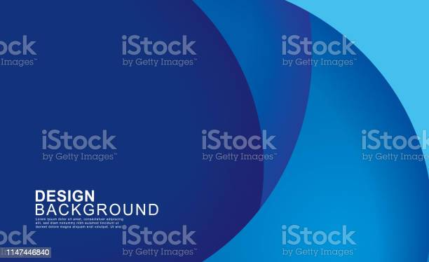 Paper Layer Circle Blue Abstract Background Curves And Lines Use For Banner Cover Poster Wallpaper Design With Space For Text - Arte vetorial de stock e mais imagens de Abstrato