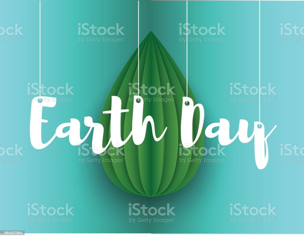 Paper leaf, origami, earth day postcard. Vector realistic illustration royalty-free paper leaf origami earth day postcard vector realistic illustration stock vector art & more images of abstract
