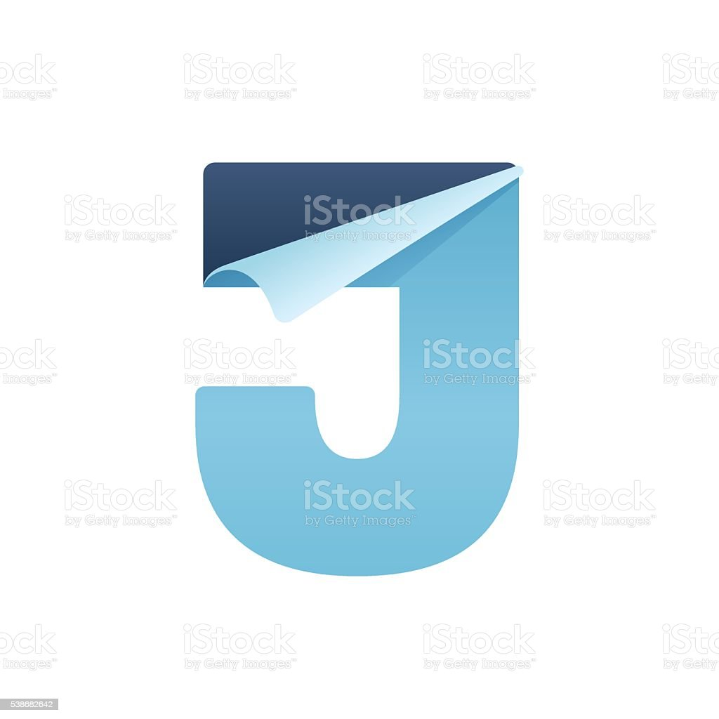 J paper letter with folded corner. vector art illustration