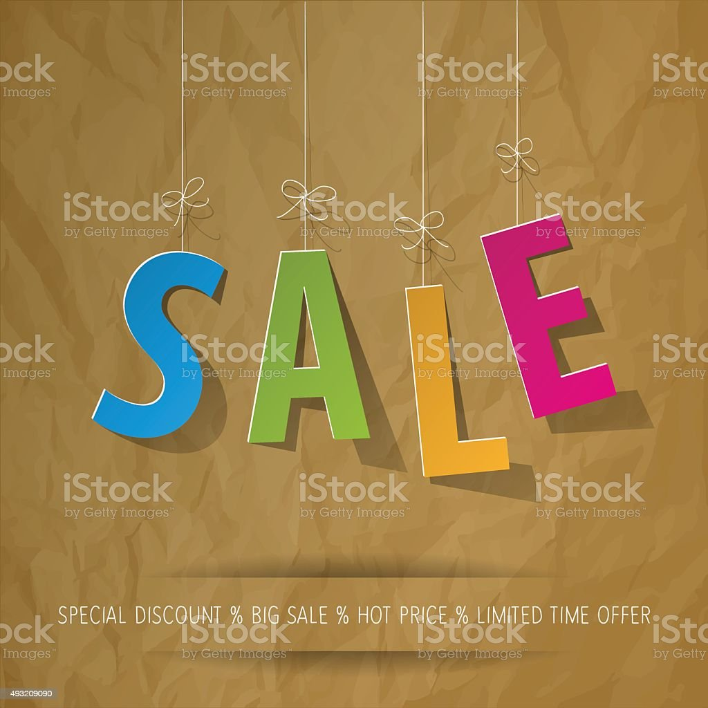 SALE paper letters colorful on a crumpled paper brown background. vector art illustration