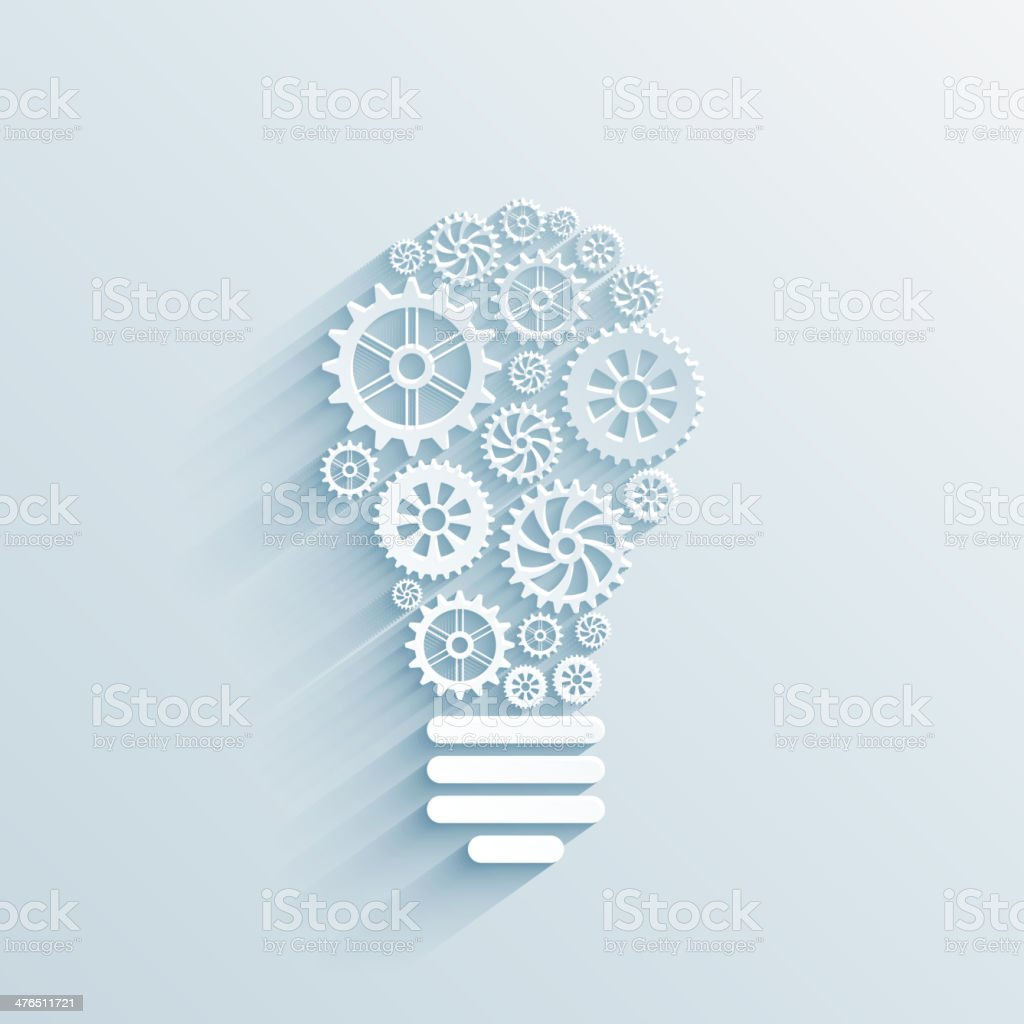 paper light bulb with gears and cogs vector art illustration