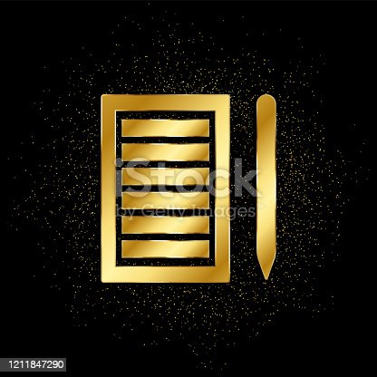 istock Paper list, pencil gold, icon. Vector illustration of golden particle 1211847290