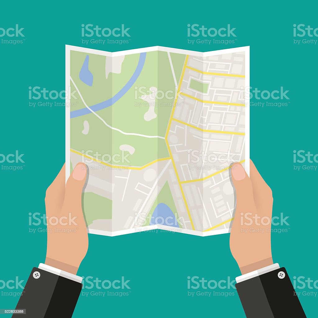 Paper Map In Hand Vector Illustration vector art illustration