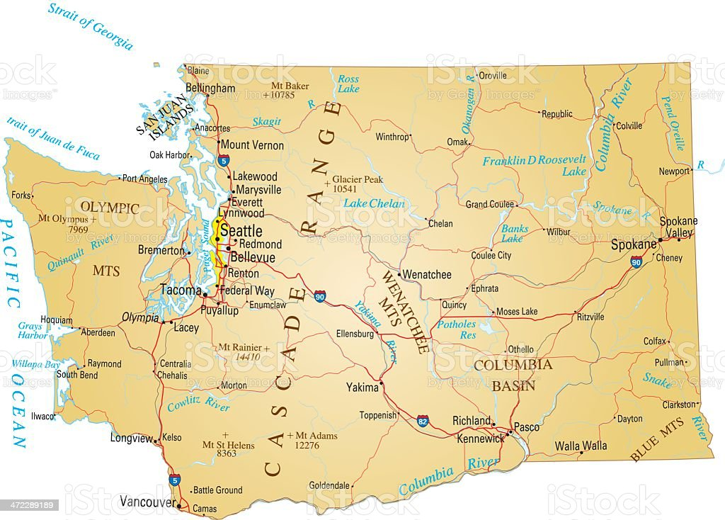 A paper map of Washington state vector art illustration