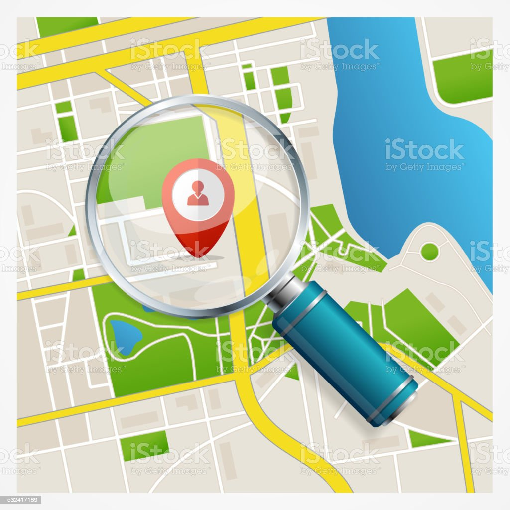 Paper map with magnifying glass and pin vector art illustration