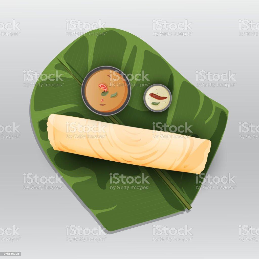 Paper Masala dosa, repas traditionnel servi avec chutney de noix de coco et de sambhar sur feuille de bananier fraîches l'Inde du Sud. - Illustration vectorielle