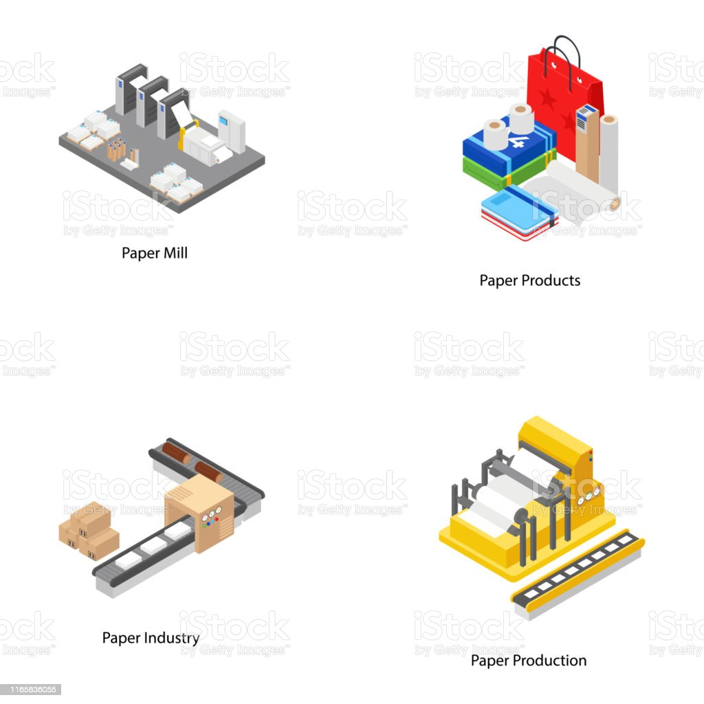 Paper Mill Isometric Icons Stock Illustration - Download