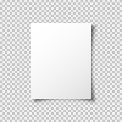 A4 paper mockup vector template with shadow isolated on transparent background. Graphic element. Blank paper mockup vector design. Web banner. EPS 10