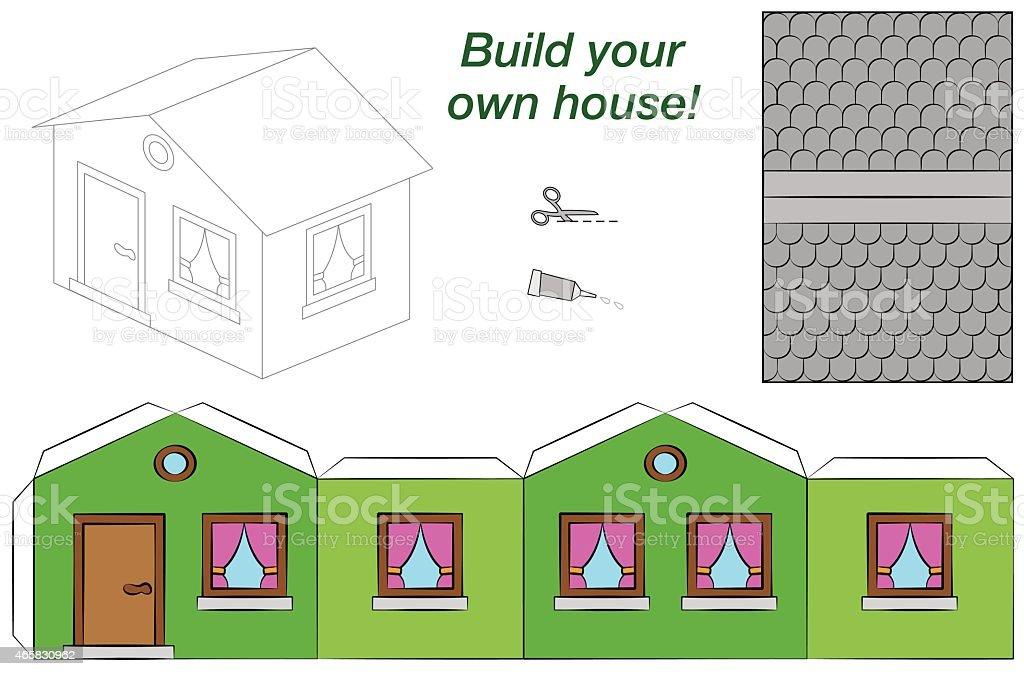 Paper Model House Template Green Stock Illustration
