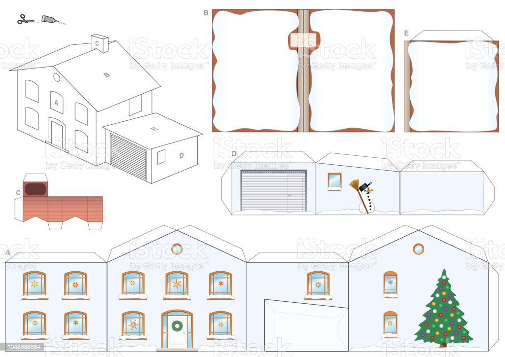 Paper Model Of A House In Winter With Christmas Tree Snowman And
