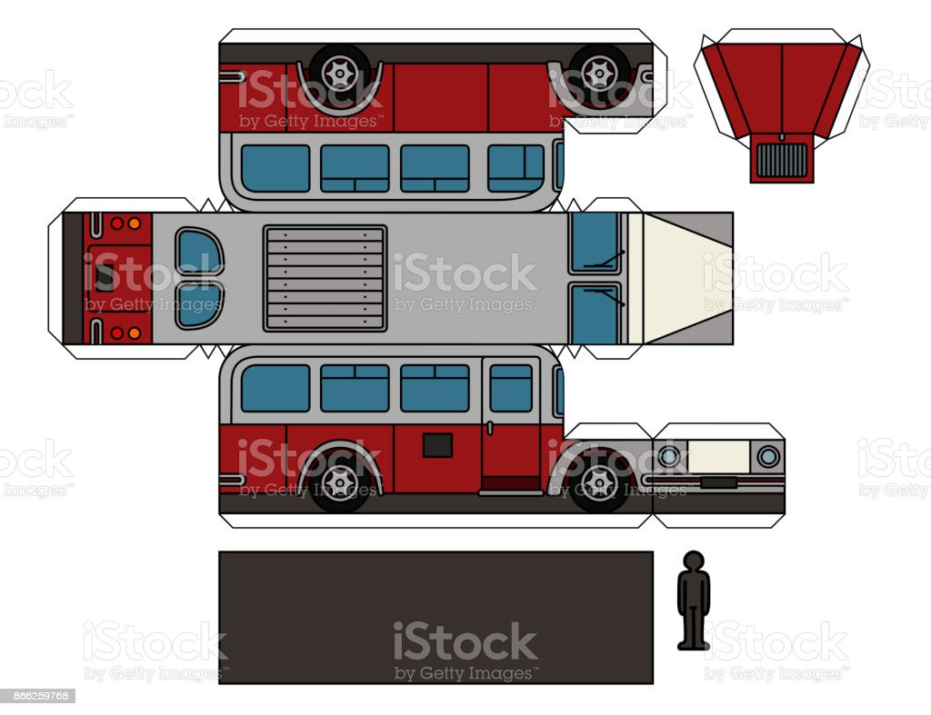 Paper Model Of An Old Bus Royalty Free Paper Model Of An Old Bus Stock