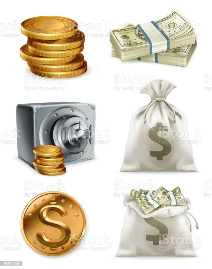 Paper money and gold coin, moneybag. 3d vector icon set vector art illustration