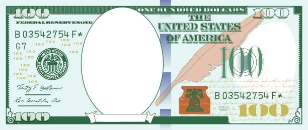 Paper Money Frame. One hundred dollar Picture Frame, US Paper Currency, Currency, Paper Currency, Empty frame american one hundred dollar bill stock illustrations