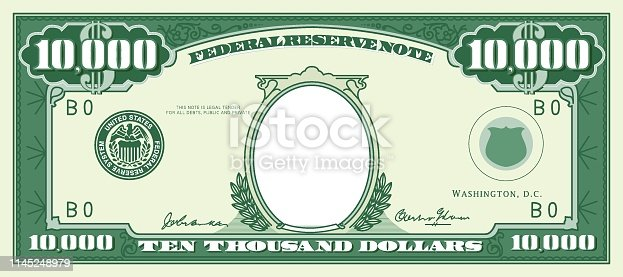 Picture Frame, US Paper Currency, Currency, Paper Currency, Empty frame