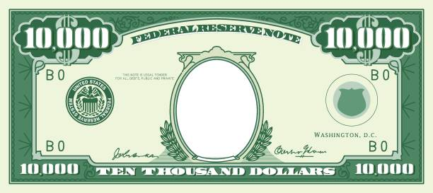 paper money frame. ten thousand dollar - dollar bill stock illustrations