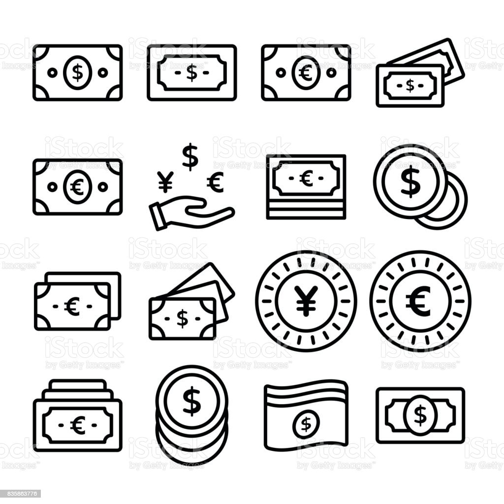 paper money line vector icons set stock vector art more images of