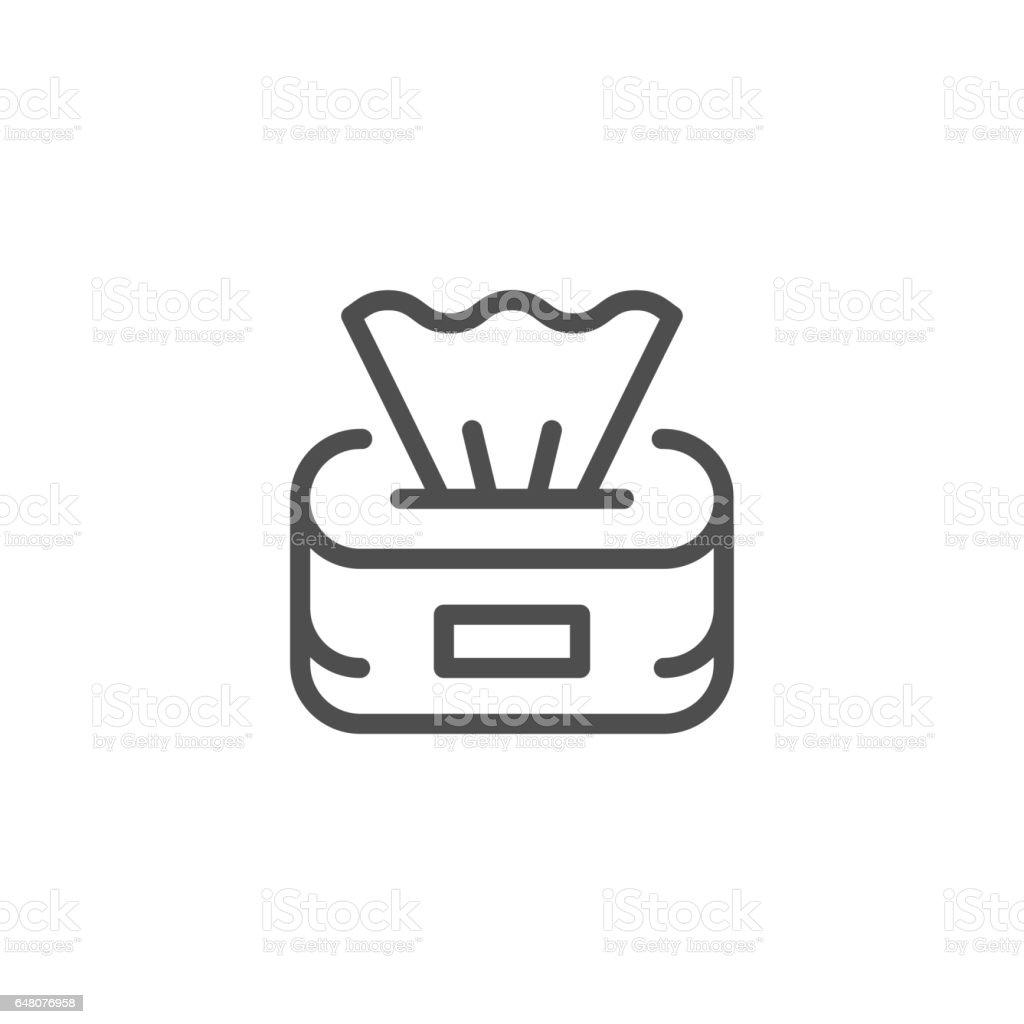 Paper napkins line icon vector art illustration