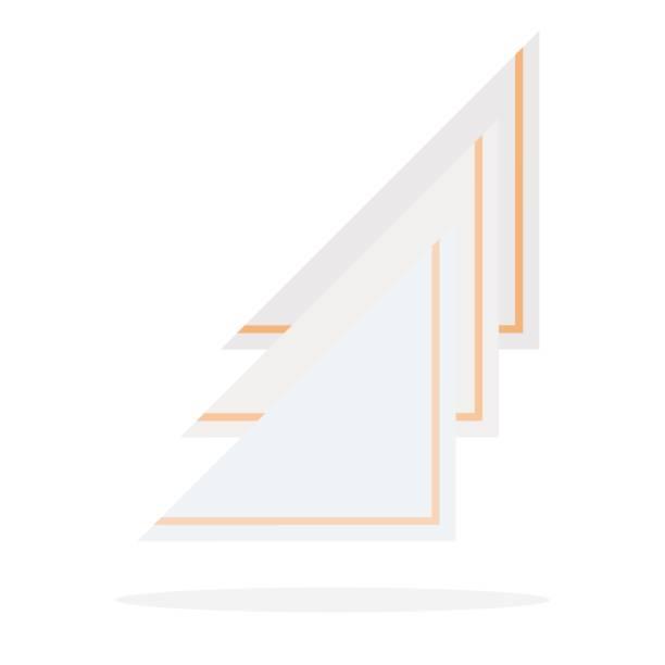 stockillustraties, clipart, cartoons en iconen met papieren servetten met geel trim gevouwen driehoek vector plat geïsoleerd - servet