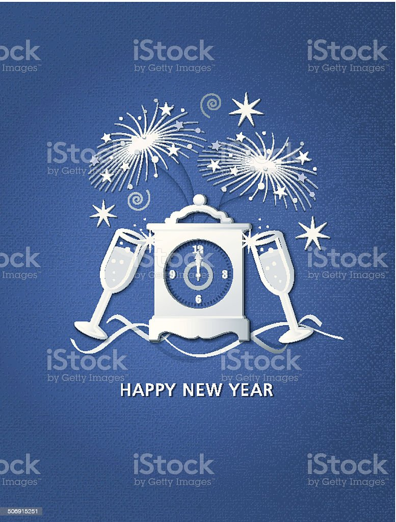 paper new year clock and fireworks collage on blue card royalty free paper new year