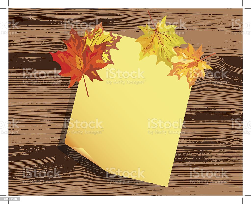 paper note with maple leaves royalty-free stock vector art